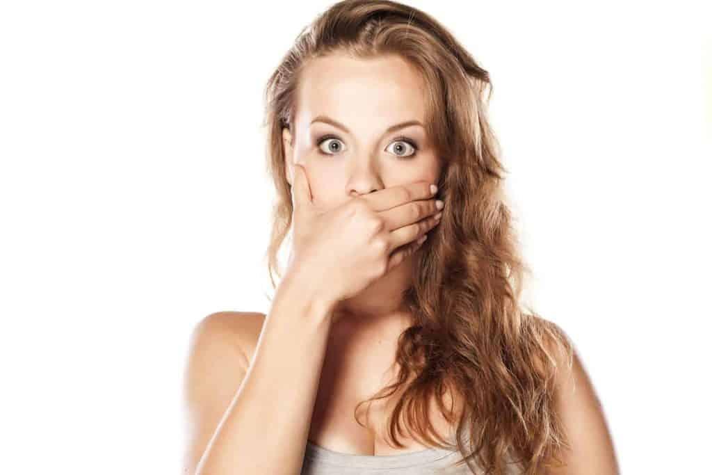 Lady with bad breath
